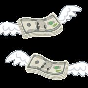 飛んで行くお金のイラスト(ドル)