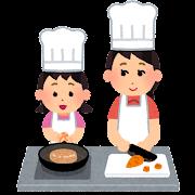 親子で料理をしているイラスト