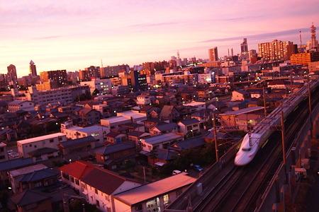 夕日を浴びて走る上越新幹線