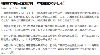 news捕鯨でも日本批判 中国国営テレビ