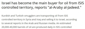newsIsrael buys most oil smuggled from ISIS territory - report