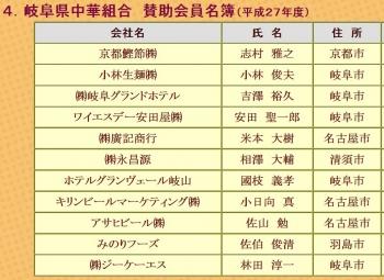 岐阜県中華組合 賛助会員名簿(平成27年度)