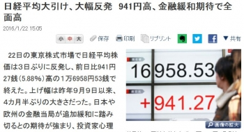 news日経平均大引け、大幅反発 941円高、金融緩和期待で全面高