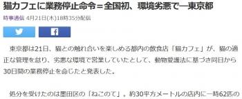 news猫カフェに業務停止命令=全国初、環境劣悪で―東京都