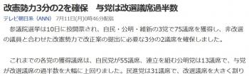 news改憲勢力3分の2を確保 与党は改選議席過半数