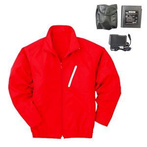 空調服 ポリエステル製長袖ブルゾン P-500BN 【カラー:レッド(赤) サイズ L】 リチウムバッテリーセット