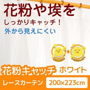 花粉キャッチレースカーテン 1枚のみ 200×223 ホワイト 防汚 ミラーレースカーテン  洗える アジャスターフック付き アスル