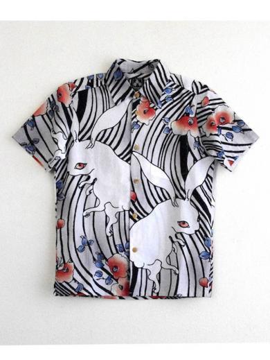 ちきりやの手拭いシャツ『椿兎』