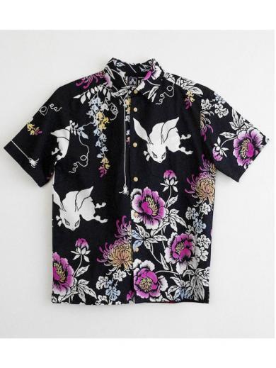 ちきりやの手拭いシャツ『藤牡丹兎』