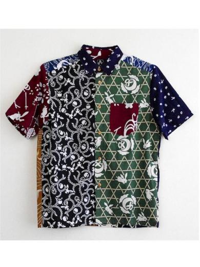 ちきりやの手拭いシャツ『籠目豆鯨萩兎クレイジーパターン』