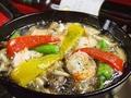 料理メニュー写真エビとキノコのオイル煮