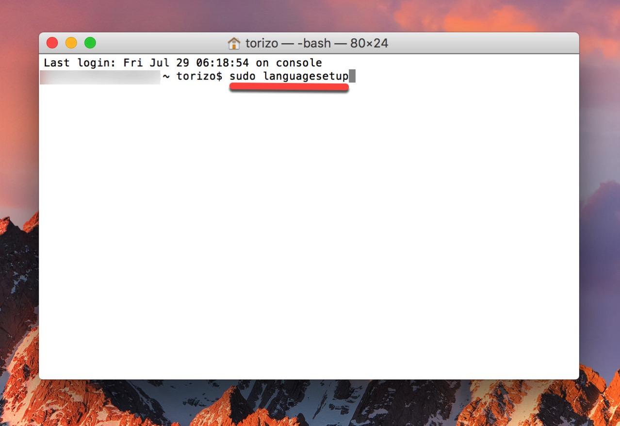 How to change language used login screen mac5