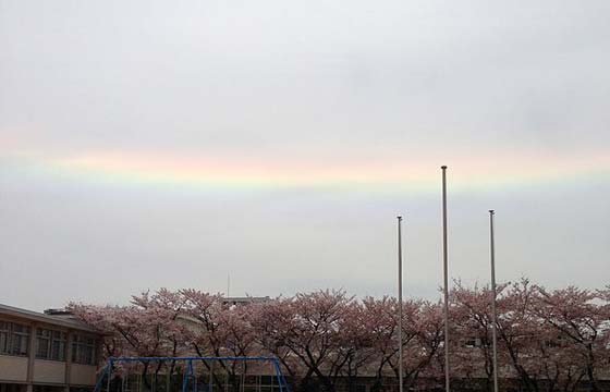 兵庫県姫路市立城北小学校で観測された環水平アーク