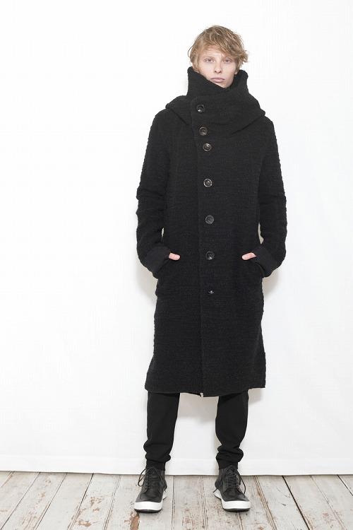 【予約】nude:mm 17AW ウール綿パイル天竺 PARKA COAT BLACK