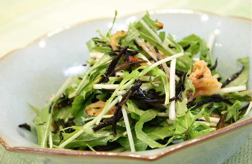 水菜とひじきとキムチのサラダレシピ