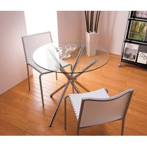 ガラスラウンドテーブル&チェアー3点セット ホワイト