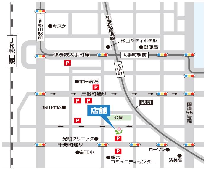 map:伊予鉄大手町駅・徒歩1分、JR松山駅・徒歩5分